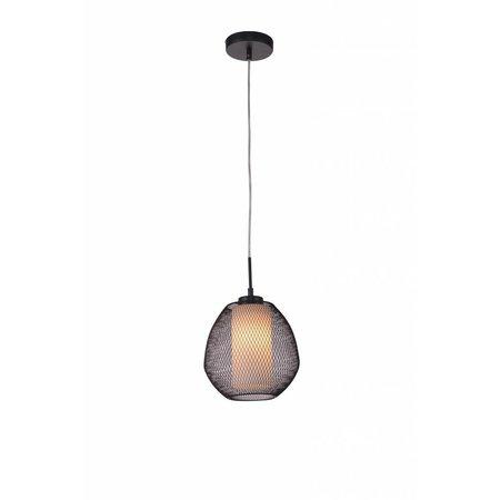 Luminaire suspendu noir-blanc oval 1xE27