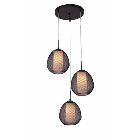 Hanglamp peer zwart-wit E27x3 470mm diameter