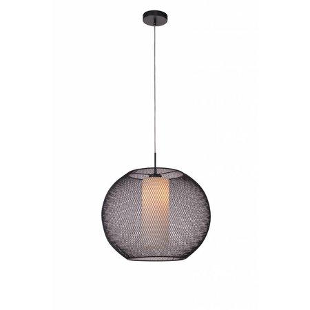 Luminaire suspendu verre noir-blanc boule E27 diamètre 500mm