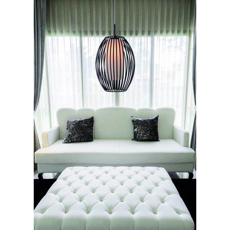 Pendant light glass black-white design oval E27 250mm diameter