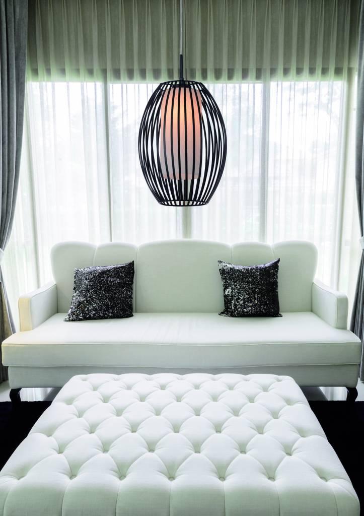 Hanglamp Design Zwart Wit Ovaal E27 250mm Diameter Myplanetled