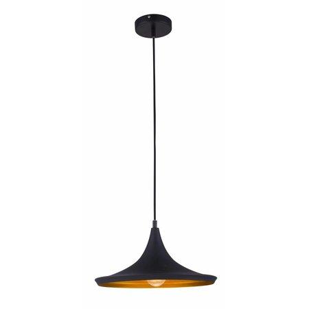 Luminaire suspendu design noir-doré 1xE27 diamètre 360mm
