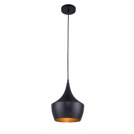 Hanglamp design zwart-goud 1xE27 250mm diameter