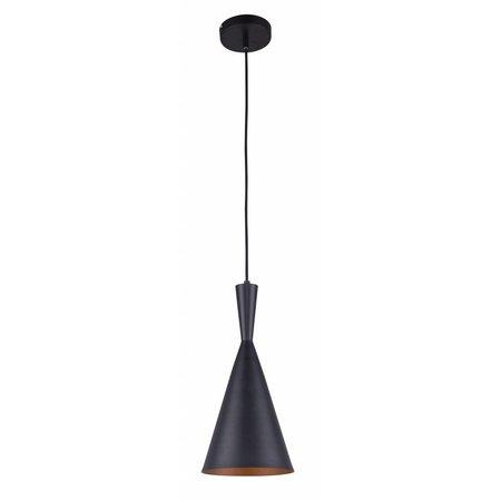 Luminaire suspendu design conique noir-doré 1xE27 diamètre 185mm