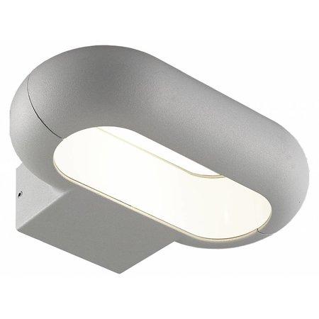 Applique murale exterieure LED ovale 5W argent ou graphite 220mm large