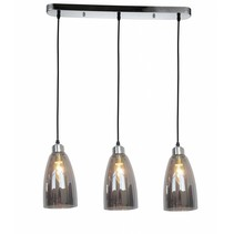Hanglamp glas grijs conisch 3xE14 1200mm hoog