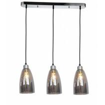 Luminaire suspendu verre gris conique 3xE14 1200mm haut