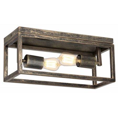 Plafondlamp ruggine/oud koper/zwart 2xE27 400mm breed
