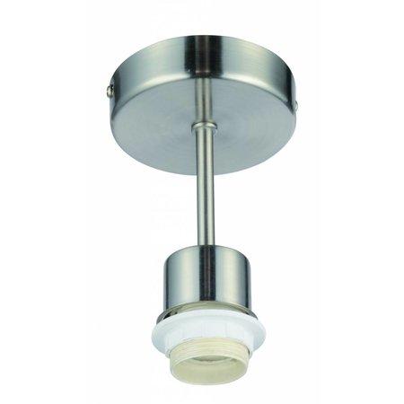 Luminaire suspendu rond gris 140mm haut pour abat-jour tissu