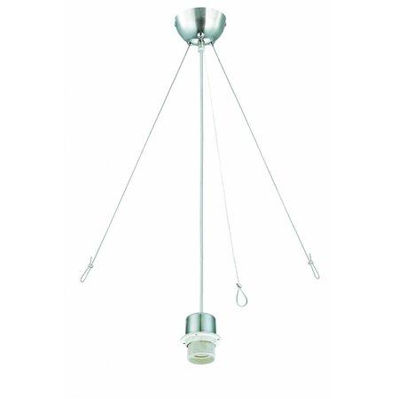 Hanglamp geborsteld staal 1320mm H met extra steun voor lampenkap stof