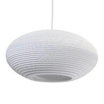 Luminaire suspendu design blanc-beige carton ellipse 42cm