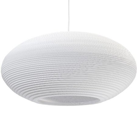 Pendant light design white-beige cardboard ellipse Ø 60cm