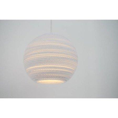 Luminaire suspendu boule blanc beige carton Ø 36cm E27