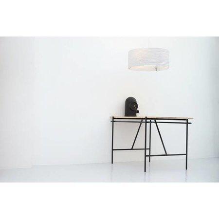 Luminaire suspendu design blanc beige rond carton Ø 92cm
