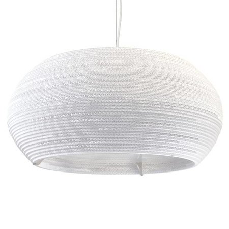 Luminaire suspendu design blanc-beige carton ellipse Ø 82cm
