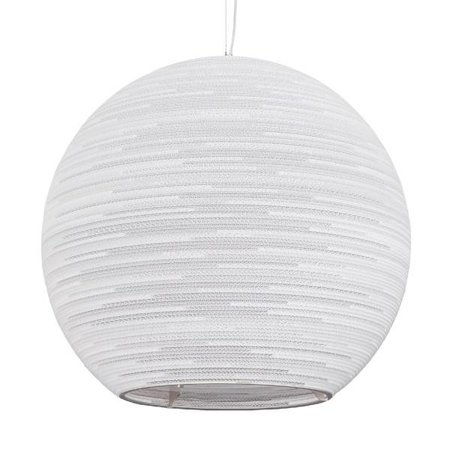 Pendant light design white, beige big bulb cardboard Ø 82cm