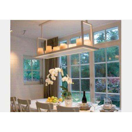 Hanglamp met kaarsen 14 x LED design landelijk wit, brons