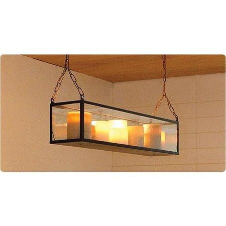 Luminaire suspendu rustique 14 bougies LED 1,5m long