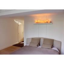 Wandlamp slaapkamer rustiek LED 7 kaarsen 80cm breed