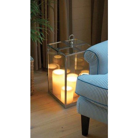 Lampe de table LED 5 bougies 450mm haut verre rustique