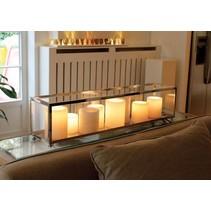 Tafellamp landelijke stijl  Authentage LED brons-chroom-nikkel 9xkaars