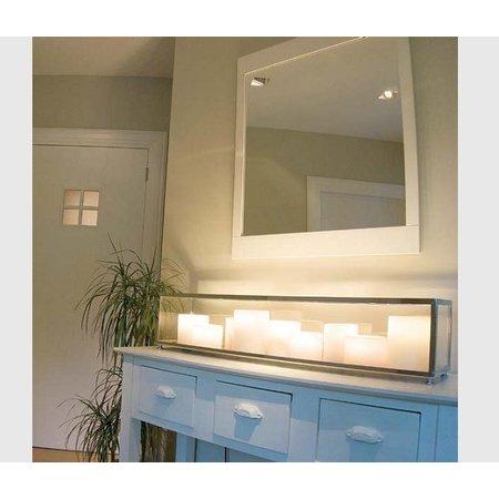 Tafellamp design landelijk LED brons-chroom 14 kaarsen