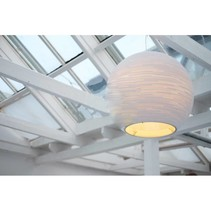 Pendant light design white or beige bulb cardboard Ø 163cm