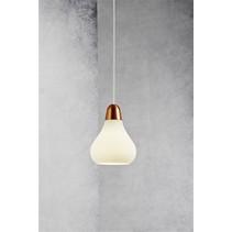 Luminaire suspendu design cuivre, acier verre poire E27 160