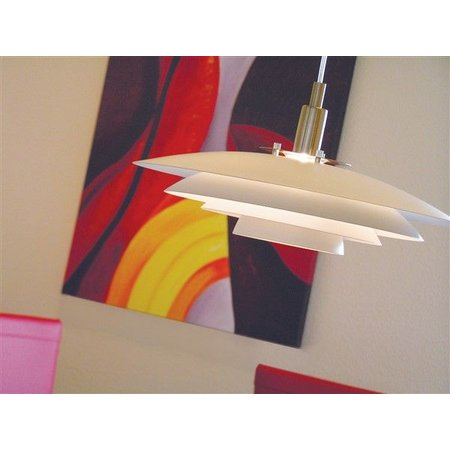 Luminaire suspendu blanc métal E27 380mm diamètre