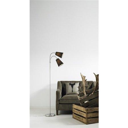 Staande lamp met leeslamp zwart stof 2xE14 1550mm hoog