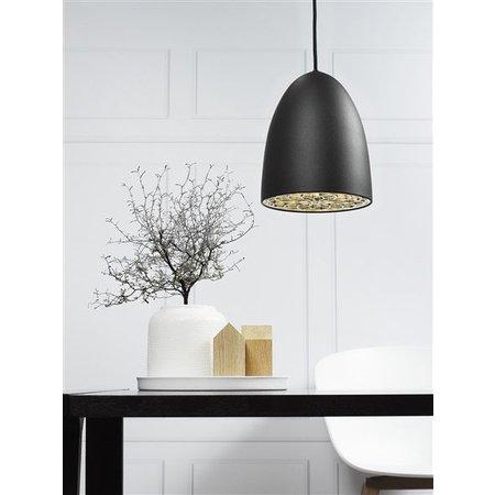 Hanglamp zwart-wit-grijs-geborsteld staal E27 200