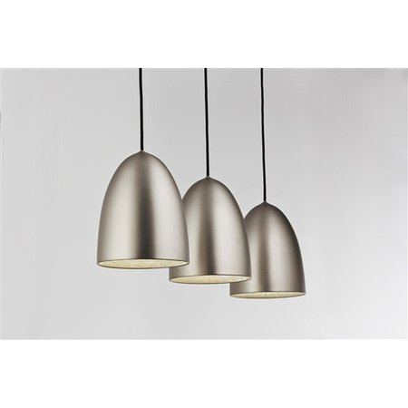 Luminaire suspendu gris conique E27x3 1130mm large