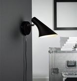 Wall light design black or white E14 145mm diameter