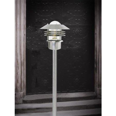 Lampadaire exterieur noir-galvanisé-inox E27 IP44 verre 920mm haut