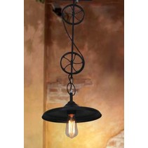 Pendant light industrial 2 wheels E27 black mat 800mm H
