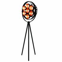 Floor lamp tripod black industrial 2040mm E27x7