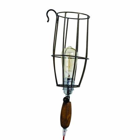 Wandlamp toorts vintage hout metaal E27 450mm