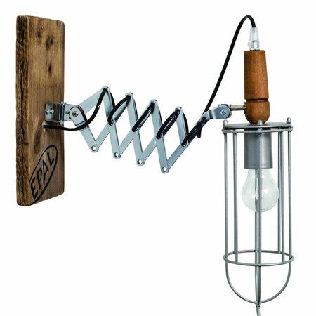 Wandlamp fakkel vintage metaal hout 500mm E27