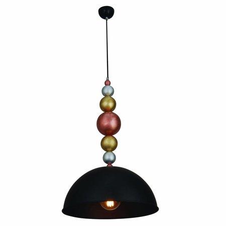 Luminaire suspendu design noir boules bois 380mm E27