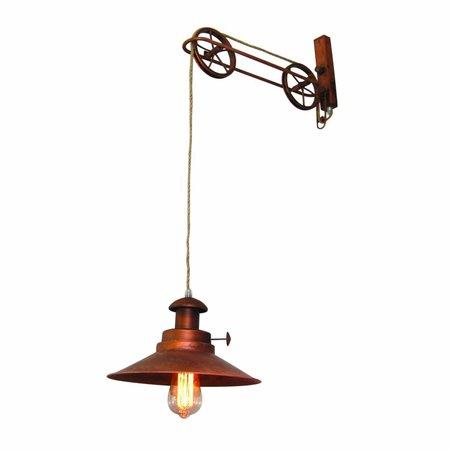 Wandlamp koper stoer met katrollen 290mm diameter