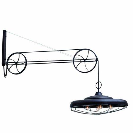 Wandlamp stoer met katrollen roestbruin 560mm E27