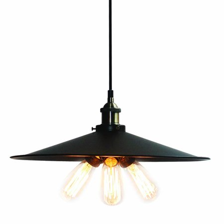 Pendant light fixture black bronze vintage 460mm E27x3