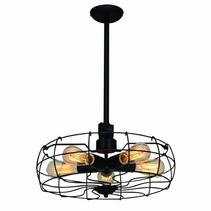 Hanglamp industrieel zwart eetkamer 460mm Ø E27x5
