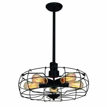 Luminaire suspendu noir vintage 460mm Ø E27x5