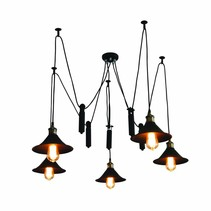 Pendant light black industrial 1200mm Ø E27x5