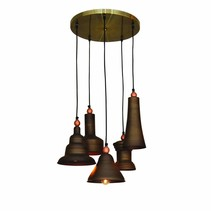 Pendant light fixture brown vintage 400mm Ø E27x5