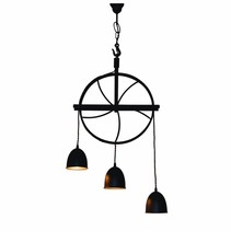 Pendant light vintage rust brown, grey wheel 310mm E27x3