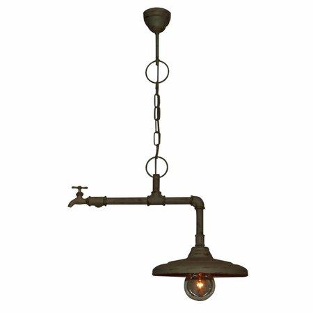 Luminaire suspendu vintage brun rouillé, beige robinet 500mm