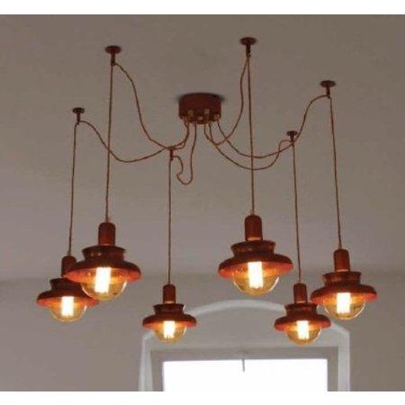 Luminaire suspendu vintage cuivre 1800mm Ø E27x6