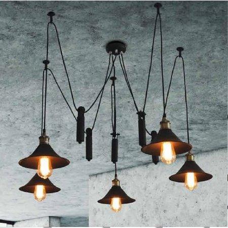 Hanglamp zwart koper industrieel 1200mm Ø E27x5